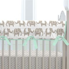 Taupe and Mint Elephants Crib Rail Cover made with care in the USA by Carousel Designs. Measures approximately long by wide. Crib Rail Guard, Crib Rail Cover, Elephant Crib Bedding, Mint Nursery, Carousel Designs, Baby Cribs, Bedding Collections, Baby Room, New Baby Products