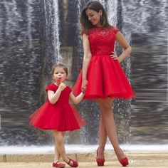 2017 Sexy Backless Short Mother Daughter Prom Dresses Red Lace Flower Girl Dresses Ruched Tulle Pagnant Party Gown For Girls New Arrival Mermaid Prom Dresses Under 200 Multi Colored Prom Dresses From Flodo, $70.43| Dhgate.Com
