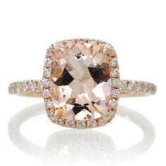 Morganite 9x7 cushion dainty diamond halo engagement ring rose gold