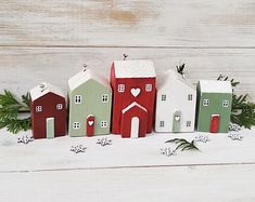 Christmas house ornaments, Set of 5 Little Wooden Houses, Christmas Decoration, Christmas Houses, Dr Christmas Home, Christmas Crafts, Christmas Decorations, Holiday Decor, Little Cottages, Little Houses, Small Cottages, Cottage In The Woods, House In The Woods