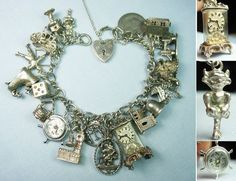 British Classic Icons Openers Movers Loaded Vintage Silver Charm Bracelet | eBay