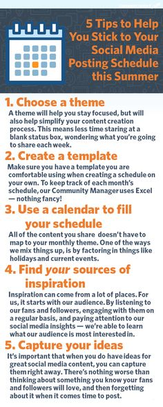 5 Tips to Help You Stick to Your Social Media Posting Schedule #infographic