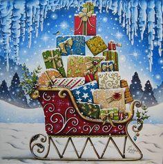 Colorido encantador!!!! Repost from @_h_barbara_ #artecomoterapia #snowfall #coloring #sled #presents #johannabasford #johannaschristmas #fabercastellpolychromos
