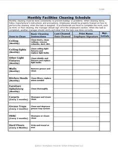 industrial kitchen cleaning checklist