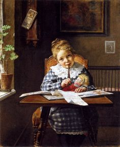 """The Letter"" by Hermann Lang, German, 1856  - 1899"