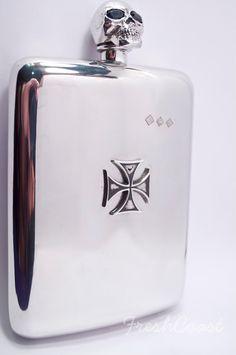 8 oz. Sapphire Pewter Skull/Cross Flask  by FreshCoastCompany, etsy ♥