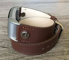Brown Double Wrapped Eco Friendly Leather Bracelet For Fitbit