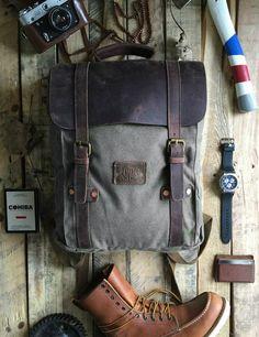 waxed canvas bag,hipster backpack,backpacks,Men's backpack,canvas backpack,gray backpack,travel backpack,men's canvas bag,men's bag,new york,mens rucksack,leather backpack