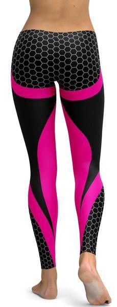 Pink Honeycomb Carbon Black Leggings