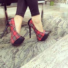 Shoespie Plaid Color Block Platform Heels