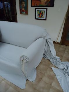 Step by step of how to reupholster a couch using canvas drop cloths courtesy of www powellbrower com Furniture Repair, Furniture Projects, Furniture Makeover, Diy Furniture, Upholstery Repair, Upholstery Nails, Upholstery Cleaning, Furniture Movers, Furniture Stores