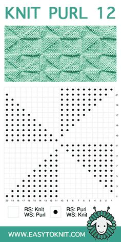 Easy To Knit: knit-purl – loom knitting stitches Knit Purl Stitches, Knitting Stiches, Knitting Charts, Baby Knitting Patterns, Lace Knitting, Knitting Designs, Stitch Patterns, Gilet Crochet, How To Purl Knit