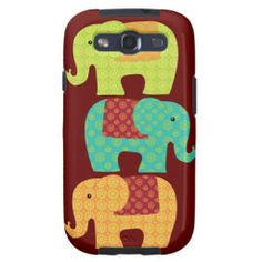 Ethnic Elephants with Flowers on Maroon Red Samsung Galaxy SIII Case SOLD on Zazzle