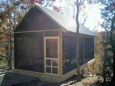 Screened Pavilion w/ Metal Roof - perfect dining room for camp. Also, look at the foundation. Screened Gazebo, Diy Gazebo, Backyard Gazebo, Backyard Retreat, Gazebo Ideas, Building An Outhouse, Shed With Porch, Rustic Toilets, Outdoor Rooms