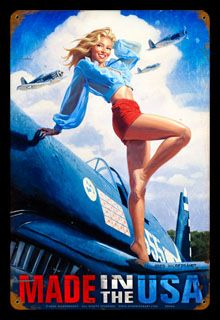 Made in the USA - Vintage Tin Sign | Pinup Art | Spiderwebart Gallery