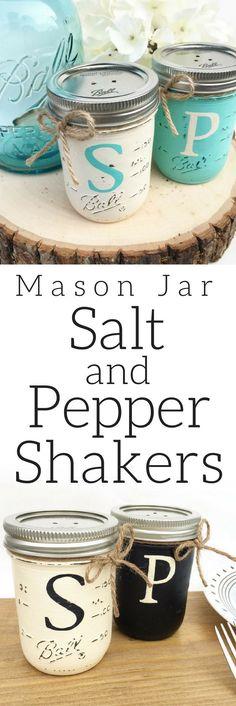 Mason Jar Salt and Pepper Shakers, Farmhouse Kitchen, Mason Jar, Rustic Kitchen, Farmhouse Decor, Country Kitchen, Home Decor, Kitchen Decor, Kitchen Organization #ad #affiliatelink