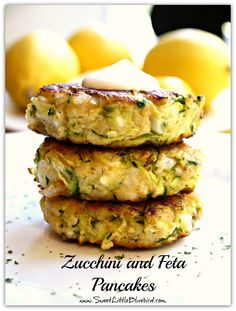 Zucchini and Feta Pancakes @ http://www.sweetlittlebluebird.com/2012/10/zucchini-and-feta-pancakes.html