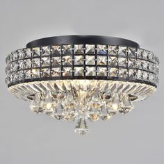 Jolie Antique Black 4-light Crystal Round Flush Mount Chandelier | Overstock.com Shopping - The Best Deals on Flush Mounts
