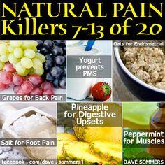 6 More Natural Pain Killers    Grapes (back pain)  Yogurt (prevents PMS)  Oats (Endrometrial)  Salt (foot pain)  Pineapple (digestive upsets)  Peppermint (muscle pain)