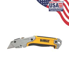 The Retractable Utility Knife offers quick blade change with the press of a button. Blade storage provides easy access to new blades without having to walk back to your tool box. Dewalt Power Tools, Tractor Supplies, Utility Knife, Work Tools, Chef Knife, Tool Box, Hand Tools, Household Items, Tractors