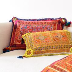Put your rest and relaxation in the highest order with our curation of playful homewares designed to help you do just that. From a scattering of textural cushions to the comfiest beanbags in town, we want your feet up and to-do lists down. Orange Cushions, Chain Stitch Embroidery, Rest And Relaxation, Online Collections, Vintage Textiles, Natural Linen, Bed Pillows, Lounge, Comfy