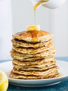Lemon Poppy Seed Oat Pancakes...a great choice for Mother's Day brunch :) #breakfast #recipes