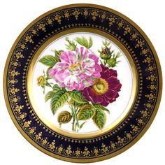 Hand-painted china plate with floral design