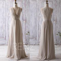 $118 2016 Cream/Beige Bridesmaid Dress Long, Ruched V Neck Wedding Dress, Lace Back Prom Dress, Maxi Dress, Chiffon Evening Dress Floor (L092A)