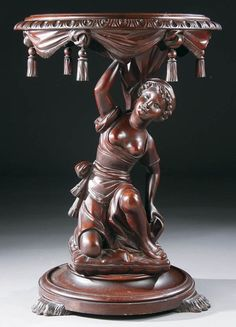 A VICTORIAN FIGURAL CARVED MAHOGANY PARLOR TABLE