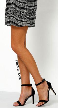 08f5b5483d Black Ankle Strap Stiletto Sandals