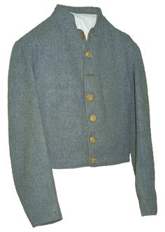 Jacket worn by Private Rene Henry Brunet, Jr. of Fenner's Louisiana Artillery.  Brunet began his service in Rightor's 1st Louisiana Infantry Battalion, which served in Pensacola and Virginia. It is not a depot product, but rather a suit made by a private source. The fabric is coarse, enlisted grade, cadet gray (or blue gray) kersey.  The front has seven button holes, and originally had seven Louisiana Pelican buttons.  The first and third buttons are now missing.
