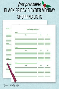 Black Friday and Cyber Monday Shopping Lists. Get organized for the holidays with free printable shopping lists to keep track of where the best buys are.