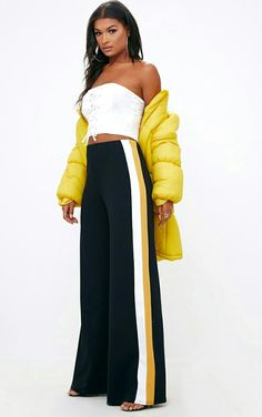 Shop women's pants online and get a leg up on this season's style. From on trend trousers to must-have pants shop online with PLT Australia. Striped Wide Leg Trousers, Wide Leg Cropped Pants, Slacks For Women, Trousers Women, Cute Pants, Women's Pants, Cute Crop Tops, Womens Fashion Online, Fashion Dresses