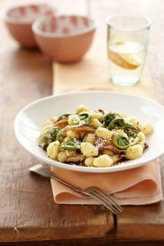 Sauteed Fiddlehead and Mushroom Gnocchi—Fiddleheads are a springtime favourite and taste a bit like a cross between asparagus and green beans. Look for fresh fiddleheads that are bright, firm and tightly coiled.