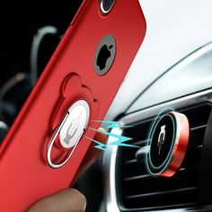 [$4.68] AIQAA For iPhone X 3 in 1 Protective Back Case Cover with Ring Holder & Car Air Outlet Vent Mount Magnetic Stand Set (Red)