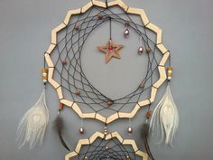 Handmade dream catcher- this dream catcher is an amazing choice for your bedroom. It is very unique as I created a different design than ususal, natural. They are made out of fabric lace, thread, feathers, wood parts and beads.   THE SET INCLUDES: 1 Dream catcher as shown in picture  SIZE: Large Ring measures 10,5 inches (26,5 cm) Medium Ring measures 9 inches (23 cm) Small Ring measures 5,7 inches (14,5 cm) Measurements including feathers 32 inches (81 cm)  ITEM CONDITION: New, made Note…