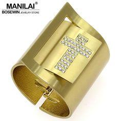 MANILAI Gothic Punk Metal Rhinestones Cross Bracelet Wide Wrap Cuff Bangles & Bracelets For Women Statement Jewelry BL036