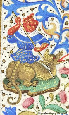 Fantastic man, possibly hybrid, with spear to neck of fantastic animal, possibly same figure as the man | Book of Hours | France, Paris | ca. 1460 | The Morgan Library & Museum