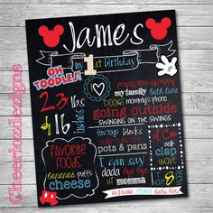 First Birthday Chalkboard Poster Mickey Mouse  by CheeriozDezigns