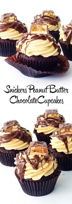 Snickers Peanut Butter Chocolate Cupcakes - Handle the Heat
