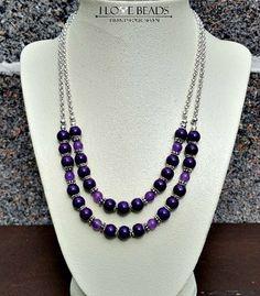 Purple agate necklace-Gemstone necklace-Purple double stranded necklace- purple necklace-amethyst necklace- beaded necklac