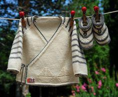 layette ensemble mérinos naissance-1 mois rayé écru et gris neuf tricoté main brassière et chaussons
