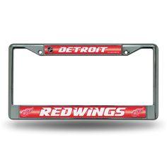 Detroit Red Wings NHL Bling Glitter Chrome License Plate Frame