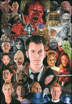 Ten & his many archnemesises, including some of my favorites (The Master, the Daleks & the Cyberdudes...I mean, Cybermen!)