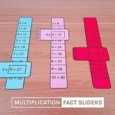 Multiplication-fact-sliders-times-tables-math-learning-aid MATHEMATIC HISTORY Mathematics is among the oldest sciences in human history. Math For Kids, Puzzles For Kids, Kids Fun, Help Kids, Fun Math, Math Tables, Math Multiplication, 3rd Grade Math, Third Grade