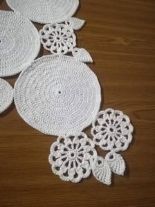 Table runner, Crochet table center piece will make your dining table special. Table Centerpieces, Table Decorations, Shabby Chic Lamps, Crochet Table Runner, Table Centers, Centre Pieces, Beautiful Patterns, Girl Nursery, Macrame