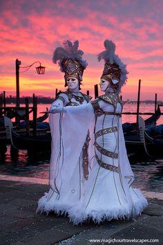 Venice at sunrise, Carnevale costumes and masks Mardi Gras Carnival, Venetian Carnival Masks, Carnival Of Venice, Venetian Masquerade, Masquerade Ball, Venice Carnivale, Venice Mask, Costume Venitien, Caribbean Carnival