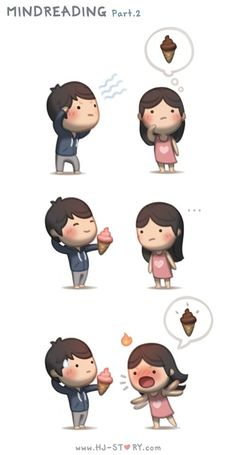 Check out the comic HJ-Story :: Love is. Reading Your Mind Cute Couple Cartoon, Cute Love Cartoons, Cute Cartoon, Crazy Love, Love Is, True Love, Hj Story, Anime Chibi, Ah O Amor