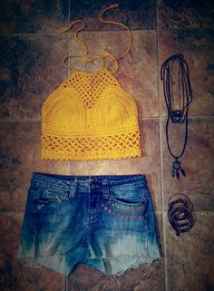 Crochet Festival Top paired with painted shorts and a few long necklaces