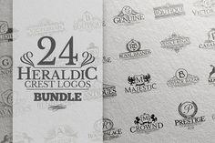 24 Heraldic Crest Logos Bundle by Zeppelin Graphics on @creativemarket
